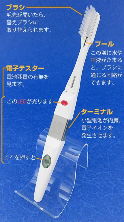 電子歯ブラシ・ハイジの名称と仕組み。ブラシは取り替え可能。本体のターミナルには小型電池が内臓され、電子イオンが発生。電池テスターは、柄の根元のボタンを押すとLEDが点灯。電池残量を調べられます。